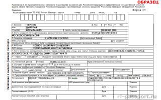 Как выглядит образец заявления формы 1П на замену паспорта при смене фамилии