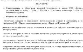 Составление приказа о назначении ответственного за пожарную безопасность